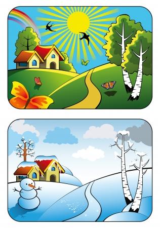 chaud froid: Deux saisons, paysage rural en �t� et en hiver, illustration vectorielle