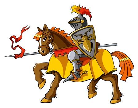 caballero medieval: Caballero medieval a caballo, preparándose para la lucha justa o, ilustración vectorial
