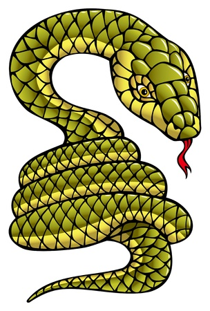 according: Snake, one of the twelve animals according to the Chinese horoscope, symbol of coming year, vector illustration  Illustration