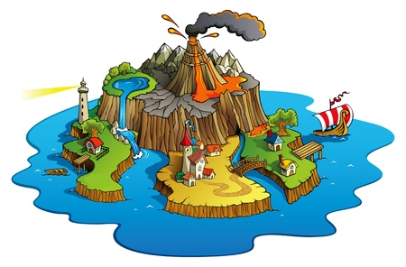 volcano: Fairy tale landscape, wonder island with town and villages, cartoon illustration