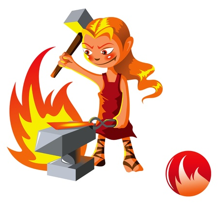 smith: Elemental series � spirit of Fire, cartoon style vector illustration Illustration