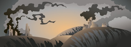 doomsday: Apocalyptic landscape with ruined buildings and heavy clouds, vector illustration