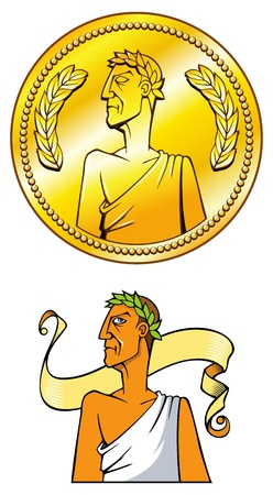 roman empire: Empire golden coin and Emperor himself, illustration