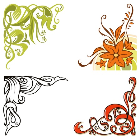 Set of ornamental corners, elements for design, illustration Vector