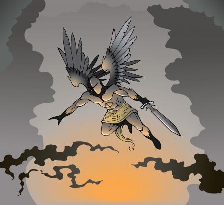 the destroyer: Angel of death with sword, flying, illustration Illustration