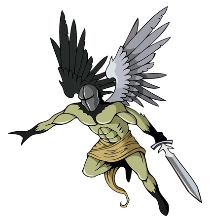 Angel of death with sword, flying, illustration Illustration
