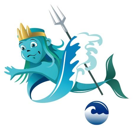 neptuno: Espíritu Serie Elemental de agua, ilustración vectorial de dibujos animados