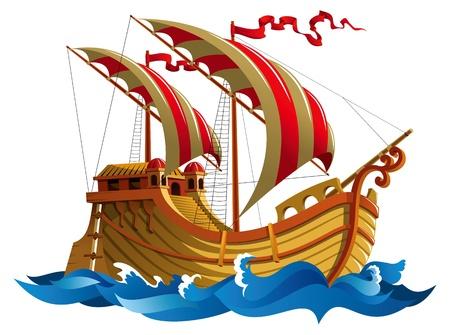 대양의: 해양 파도에 배를 항해, 그림