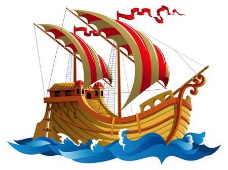galleon: Sailing ship in oceanic waves, illustration