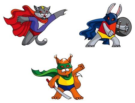 Funny animals superheroes cat, rabbit and squirrel, mock illustration Vector