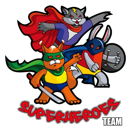 Funny animals superheroes cat, rabbit and squirrel, mock Vector