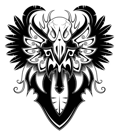 wings tattoo: Heraldic bird with wings, tattoo, vector illustration Illustration