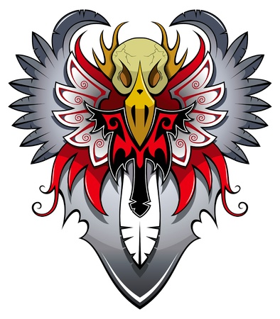 skull tattoo: Heraldic bird with wings, tattoo, vector illustration Illustration
