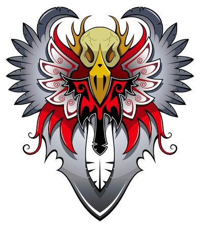 skull tattoo: Heraldic bird with wings, tattoo, vector illustration Illustration