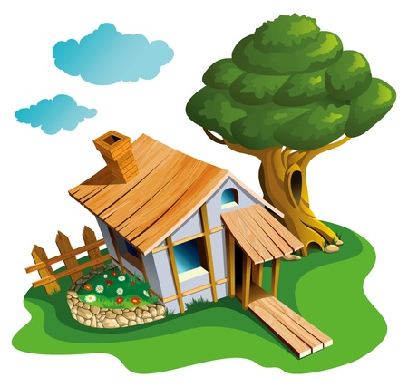 lodge: Small village house with flower-bed and big tree, vector illustration