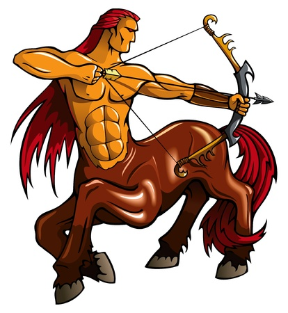 the centaur: Centaur, fantasy creature, with bent bow, vector illustration