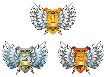 prize winner: Three symbols of award - gold, silver and bronze shields with wings, vector illustration