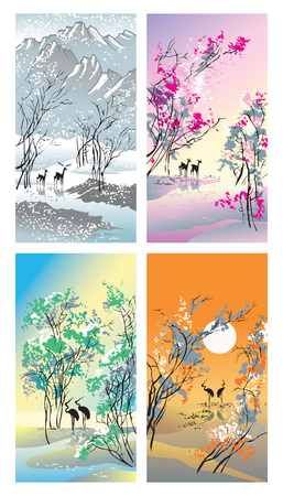 Four seasons - handdrawn picture in Chinese traditional painting style, vector illustration Illustration