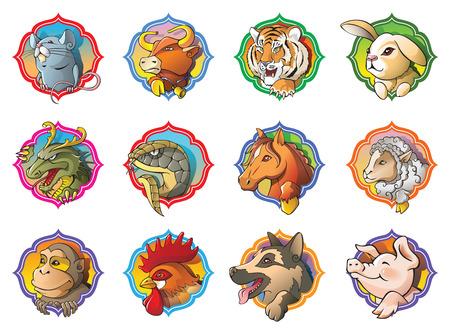 Doce animales del horóscopo chino, ilustración vectorial de dibujos animados Foto de archivo - 23153576