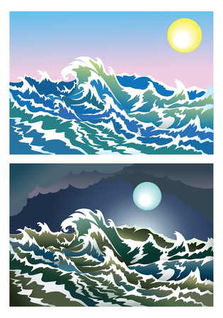 Sea waves in the day and night time, vector illustration Vector
