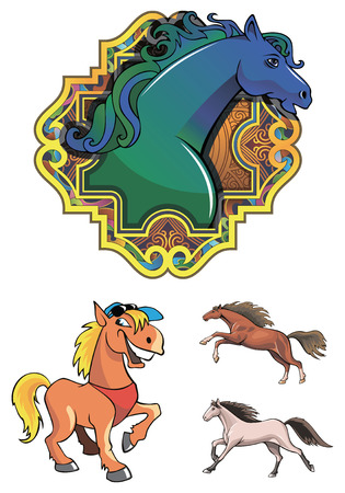 according: Set of horses, symbol of the year according to the Chinese calendar, vector illustration