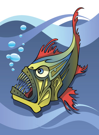 drift: Scary deep-water fish, an angler, with ocean background, vector illustration