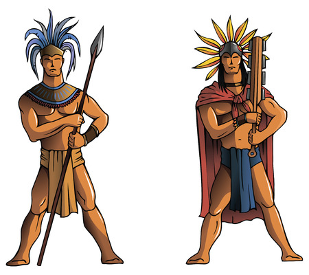 folktale: Los indios mayas, guerreros, ilustraci�n vectorial