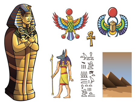 tutankhamen: The sarcophagus on a white background, vector illustration