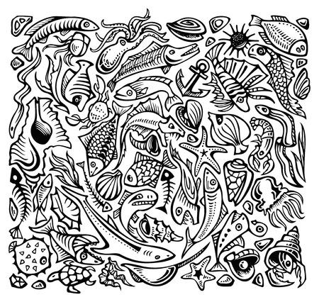 lionfish: Underwater world, Inhabitants of the sea, different species, vector illustration