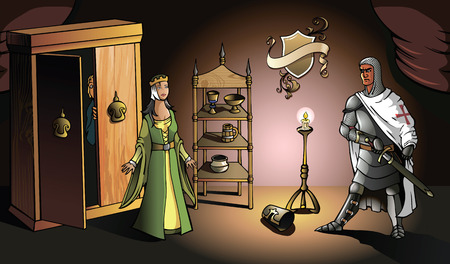 medieval woman: Crusader returns from Holy Land and catches his wife with lover, vector illustration