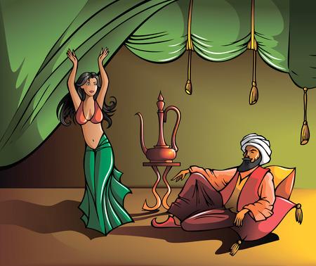 Oost mooi meisje dansen voor de sultan, vector illustratie