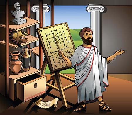 antigua grecia: Arquímedes, antiguo científico griego, representa su invento, ilustración vectorial