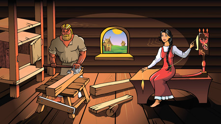 spindle: Ancient Russians, man and woman, working at home, vector illustration Illustration
