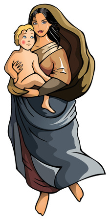 Madonna with newborn child, vector illustration Illustration