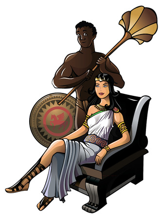 olympian: Queen of ancient Greece with her servant, vector illustration Illustration