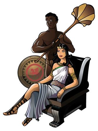 antica grecia: Regina della Grecia antica, con il suo servo, illustrazione vettoriale