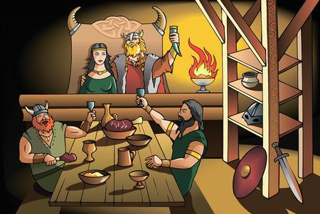 högtider: Kungen och drottningen av forntida Skandinavien festa med modiga krigare, vektor