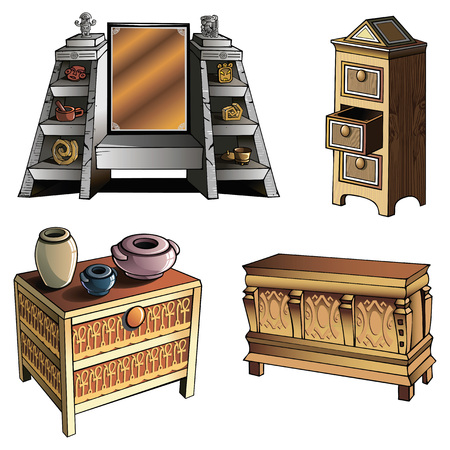Furniture of different ages and styles, vector illustration Illustration