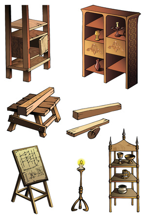 candleholder: Furniture of different ages and styles, vector illustration Illustration