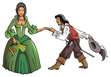 musketeer: Brave musketeer shows reverence to the Queen, vector illustration