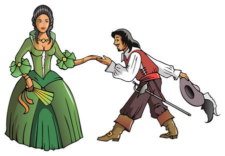 mosquetero: Mosquetero Brave muestra reverencia a la reina, ilustración vectorial