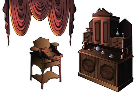 sideboard: Cupboard and desk of early XIX century, vector illustration