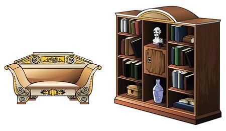 Bookcase and sofa of XIX century, vector illustration