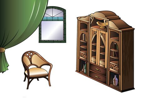 xx century: Bookcase and armchair of early XX century in Modern style, vector illustration