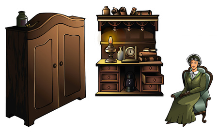 sideboard: Woman sitting in an armchair, with wardrobe and sideboard, vector illustration Illustration