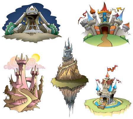 fortress: Set of different castles, illustration Illustration