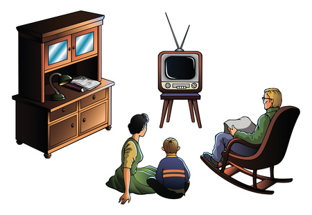 decade: Father, mother and son watching TV, decade of the 1970s, illustration