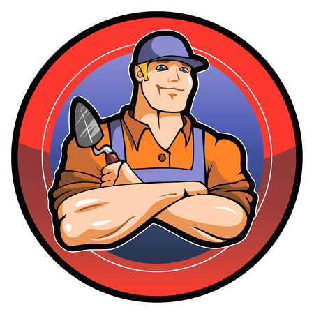 artisan: Smiling worker, Jack-of-all-trades, logo, vector illustration