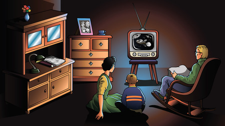 televisions: Family watching TV, decade of the 1970s, illustration