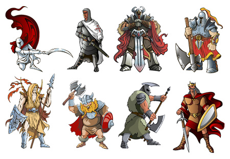 crusader: Knights and Warriors of different times, illustration